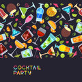 Vector Seamless Horizontal Background With Cocktails, Juice, Wine Glasses. Hand Drawn Illustration. Royalty Free Stock Photo - 89026975