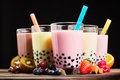 Glasses Of Refreshing Milky Boba Or Bubble Tea Stock Photos - 89049343