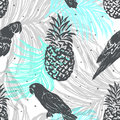 Ink Hand Drawn Jungle Seamless Pattern With Parrots And Pineappl Stock Photo - 89054150
