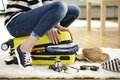 Preparation Travel Suitcase At Home Stock Photography - 89058392