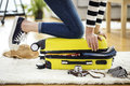 Preparation Travel Suitcase At Home Stock Photos - 89058503