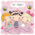Three Cute Cartoon Girls Stock Photos - 89066073
