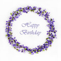 Delicate Spring Violets On A White Background Close Up. Happy Birthday Card Stock Images - 89090204