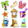 Beach Life Elements Stickers Stock Image - 89097951