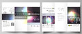 Tri-fold Brochure Business Templates On Both Sides. Easy Editable Abstract Vector Layout. Retro Style, Mystical Sci-Fi Royalty Free Stock Image - 89100986