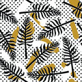 Vector Tropical Seamless Pattern With Exotic Plants On Simple Abstract Background Royalty Free Stock Photography - 89113777