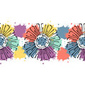 Seamless Vector Hand Drawn Floral Pattern, Endless Border Colorful Frame With Flowers, Leaves. Decorative Cute Graphic Line Drawin Royalty Free Stock Images - 89127099