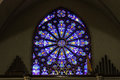 Indianapolis - Circa March 2017: St. Mary Catholic Church Stained Glass Window Resembling The South Rose Window II Stock Image - 89135521