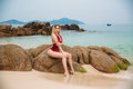 Beautiful Young Blonde Woman In Red Bikini Posing On The Beach. Sexy Model Portrait With Perfect Body. Concept Of Summer Royalty Free Stock Photo - 89135735