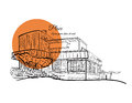 Sketch Of A Building With Orange Circle On The Background With Text. Royalty Free Stock Photos - 89136428