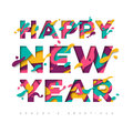 New Year Typography With Abstract Paper Cut Shapes Royalty Free Stock Photography - 89144827