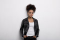 Woman Wearing Leather Jacket Royalty Free Stock Photos - 89161838