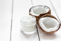 Coconut Oil For Body Care In Cosmetic Concept On White Desk Mock Up Royalty Free Stock Photography - 89164057