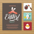 Happy Easter Calligraphy Greeting Card Set. Hand Lettering. Holiday Greetings. Bunny Eggs And Chicken Stock Photography - 89181872