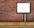 One Big Blank Billboard Attached To A Brick Wall Inside With Wooden Floor Stock Photo - 89192360