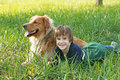 Boy Laying Down With Dog Royalty Free Stock Images - 8929629