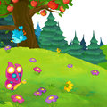 Cartoon Scene Of A Forest Meadow With White Space For Text Royalty Free Stock Images - 89208229
