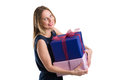 Attractive Woman Carrying Big Gift Packages, Isolated On White Royalty Free Stock Photos - 89215218