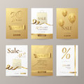 Vector Set Of Stylish Banners For Sale With Golden Ribbons, Paper Shopping Bag And Balloons. Stock Photos - 89235153