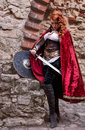 Warrior Woman With Sword In Medieval Clothes Is Very Dangerous Royalty Free Stock Images - 89236659