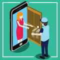 Send Parcel Front The Door That Looks Like A Smart Phone Royalty Free Stock Image - 89240246