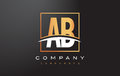 AB A B Golden Letter Logo Design With Gold Square And Swoosh. Stock Image - 89261931