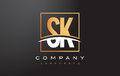 SK S K Golden Letter Logo Design With Gold Square And Swoosh. Royalty Free Stock Photo - 89263155