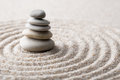 Japanese Zen Garden Meditation Stone For Concentration And Relaxation Sand And Rock For Harmony And Balance In Pure Simplicity Stock Photography - 89265732