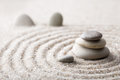 Japanese Zen Garden Meditation Stone For Concentration And Relaxation Sand And Rock For Harmony And Balance In Pure Simplicity Royalty Free Stock Photography - 89265777