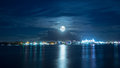Full Moon Over Bright City Stock Photos - 89273263