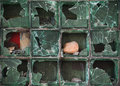 Wall Of Glass Blocks Is Broken By Stones Royalty Free Stock Images - 89284949