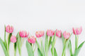 Pink Tulip Flowers For Spring Background Top View In Flat Lay Style With Clean Space For Text. Greeting For Woman Or Mother Day. Stock Photos - 89298253