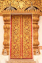 Thai Tradition Style Buddhist Church Door Royalty Free Stock Photo - 8936875