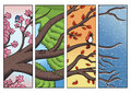 Tree Branch Passing Through The Four Seasons Royalty Free Stock Images - 89311919