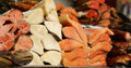 Farmer`s Market -  Assortment Fish Salted And Smoked Red And White Royalty Free Stock Photo - 89324015