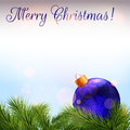 Christmas Card. Realistic Fir Branches And Christmas Bauble Royalty Free Stock Photos - 89324108