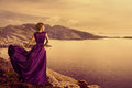 Woman In Elegant Dress On Mountain Coast, Fashion Model Gown Stock Photography - 89330862