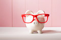 Piggy Bank With Red Glasses Stock Image - 89347441
