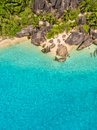 Aerial Photo Of Tropical Seychelles Beach At La Digue Island Stock Images - 89358954