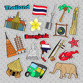 Thailand Travel Elements With Architecture For Badges, Stickers, Prints Royalty Free Stock Photo - 89366685