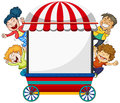 Background Design With Four Happy Kids And Cart Stock Image - 89369101