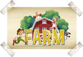 Flashcard For Word Farm With Farmer And Animals Stock Images - 89369384