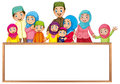 Board Template With Muslim Family In Colorful Clothes Stock Image - 89369591
