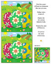 Find The Differences Picture Puzzle With Three Easter Eggs Royalty Free Stock Images - 89376449