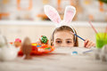 Girl With Rabbit Ears On Head Show Colorful Easter Egg Royalty Free Stock Images - 89383509