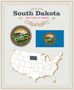 High Detailed Vector Set With Flag, Coat Of Arms South Dakota. American Poster. Greeting Card Royalty Free Stock Images - 89384519