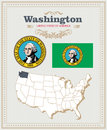 High Detailed Vector Set With Flag, Coat Of Arms Washington. American Poster. Greeting Card Royalty Free Stock Photography - 89384777
