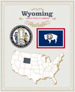 High Detailed Vector Set With Flag, Coat Of Arms Wyoming. American Poster. Greeting Card Stock Photos - 89385303