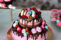 Festive Table With Sweets.chic Pink Cake, Kids Cake, Birthday Cake, Sweet Table,candy Bar, Stock Photography - 89395202