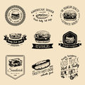 Vector Vintage Fast Food Logo Set. Retro Quick Meal Signs Collection. Bistro, Snack Bar, Street Restaurant, Diner Icons. Royalty Free Stock Image - 89397536